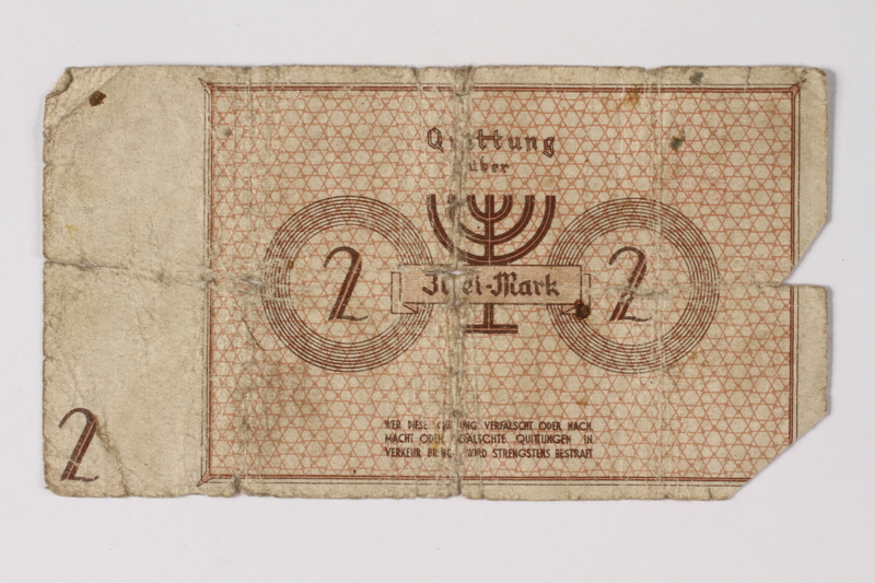 1987.90.27 back Łódź (Litzmannstadt) ghetto scrip, 2 mark note