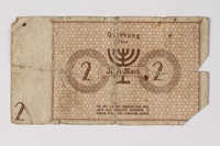 1987.90.27 back Łódź (Litzmannstadt) ghetto scrip, 2 mark note  Click to enlarge