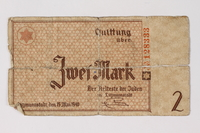 1987.90.28 front Łódź (Litzmannstadt) ghetto scrip, 2 mark note  Click to enlarge