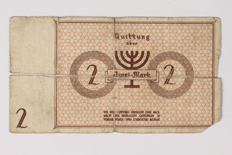 1987.90.28 back Łódź (Litzmannstadt) ghetto scrip, 2 mark note