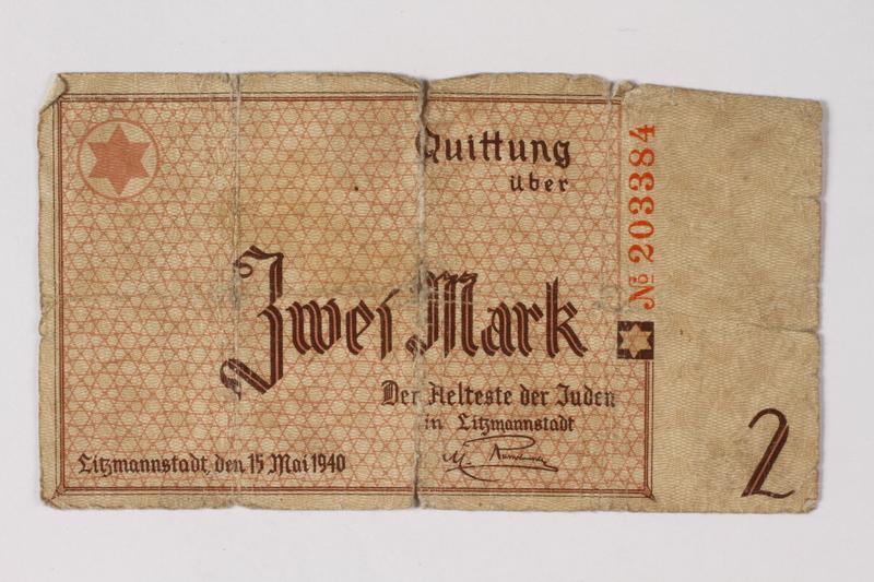 1987.90.29 front Łódź (Litzmannstadt) ghetto scrip, 2 mark note