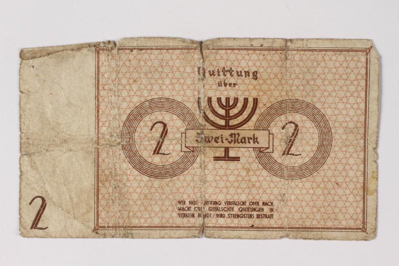 1987.90.29 back Łódź (Litzmannstadt) ghetto scrip, 2 mark note