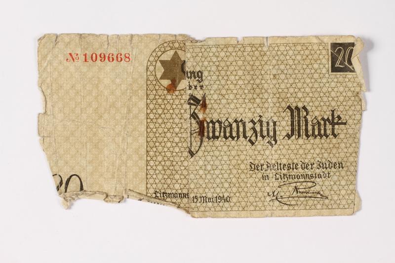 1987.90.3 front Łódź (Litzmannstadt) ghetto scrip, 20 mark note