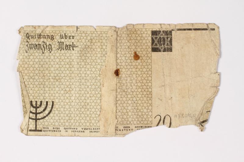 1987.90.3 back Łódź (Litzmannstadt) ghetto scrip, 20 mark note