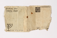 1987.90.3 back Łódź (Litzmannstadt) ghetto scrip, 20 mark note  Click to enlarge