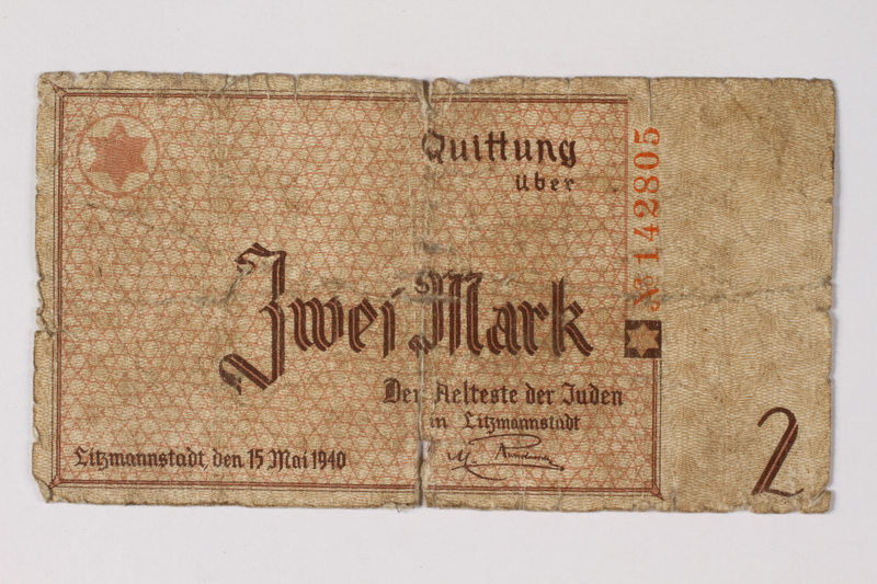 1987.90.30 front Łódź (Litzmannstadt) ghetto scrip, 2 mark note