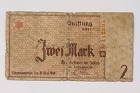 1987.90.30 front Łódź (Litzmannstadt) ghetto scrip, 2 mark note  Click to enlarge