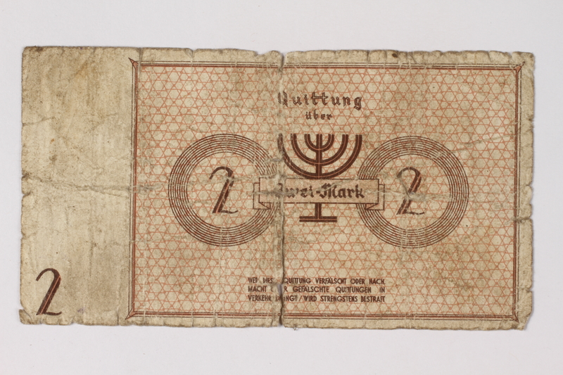 1987.90.30 back Łódź (Litzmannstadt) ghetto scrip, 2 mark note