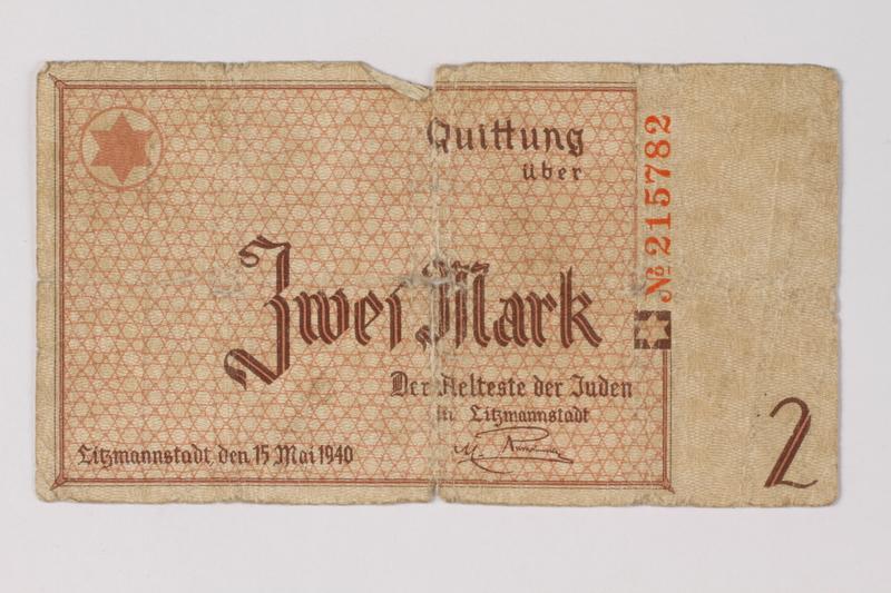 1987.90.31 front Łódź (Litzmannstadt) ghetto scrip, 2 mark note