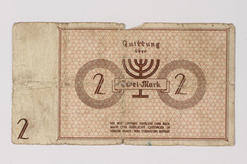 1987.90.31 back Łódź (Litzmannstadt) ghetto scrip, 2 mark note