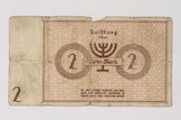 1987.90.31 back Łódź (Litzmannstadt) ghetto scrip, 2 mark note  Click to enlarge