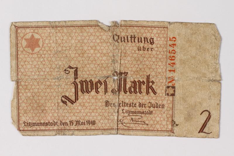 1987.90.32 front Łódź (Litzmannstadt) ghetto scrip, 2 mark note