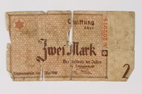 1987.90.33 front Łódź (Litzmannstadt) ghetto scrip, 2 mark note  Click to enlarge
