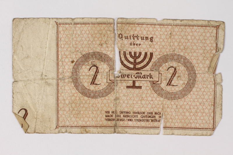 1987.90.33 back Łódź (Litzmannstadt) ghetto scrip, 2 mark note