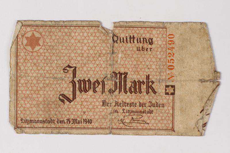 1987.90.34 front Łódź (Litzmannstadt) ghetto scrip, 2 mark note