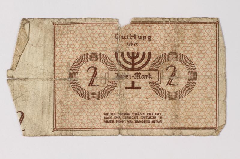 1987.90.34 back Łódź (Litzmannstadt) ghetto scrip, 2 mark note
