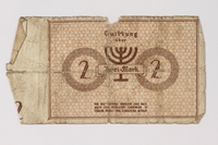 1987.90.34 back Łódź (Litzmannstadt) ghetto scrip, 2 mark note  Click to enlarge