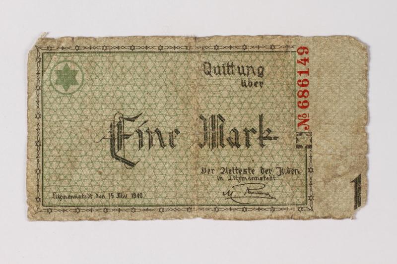 1987.90.35 front Łódź (Litzmannstadt) ghetto scrip, 1 mark note