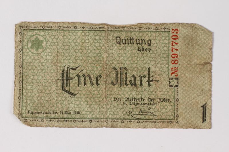1987.90.36 front Łódź (Litzmannstadt) ghetto scrip, 1 mark note