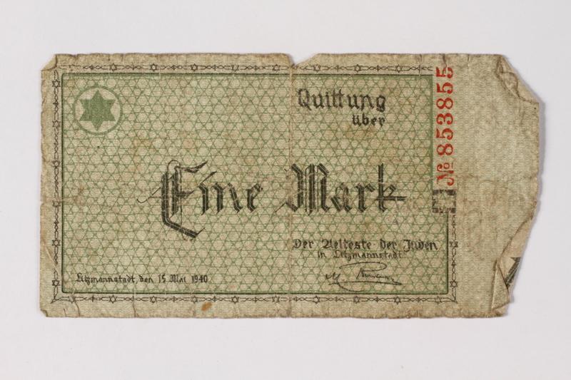 1987.90.37 front Łódź (Litzmannstadt) ghetto scrip, 1 mark note