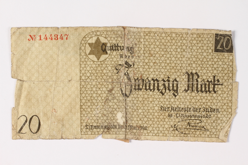 1987.90.4 front Łódź (Litzmannstadt) ghetto scrip, 20 mark note