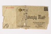 1987.90.4 front Łódź (Litzmannstadt) ghetto scrip, 20 mark note  Click to enlarge