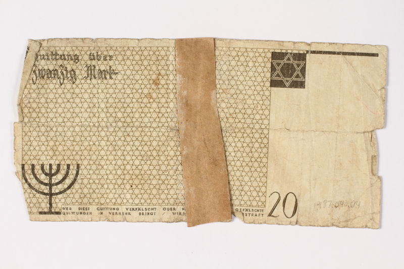 1987.90.4 back Łódź (Litzmannstadt) ghetto scrip, 20 mark note