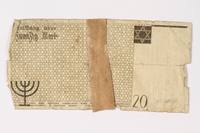 1987.90.4 back Łódź (Litzmannstadt) ghetto scrip, 20 mark note  Click to enlarge