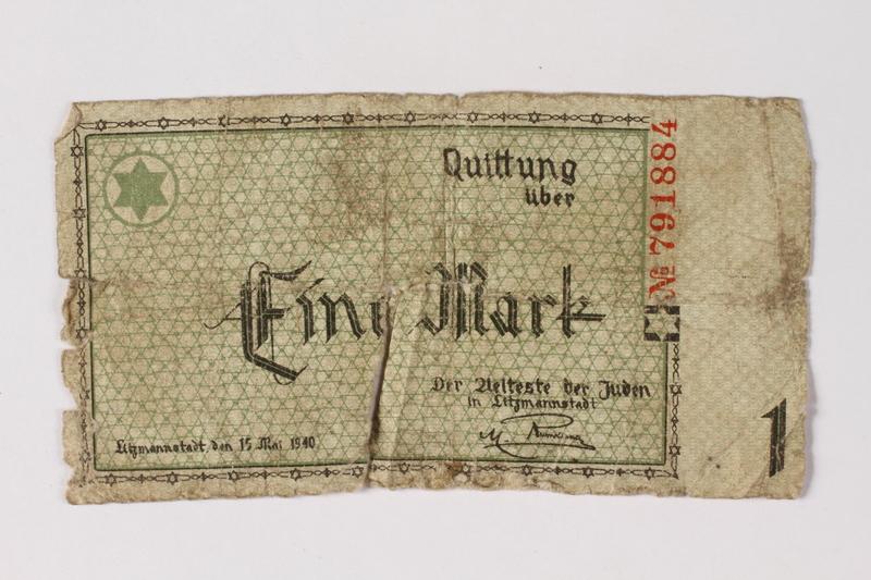 1987.90.40 front Łódź (Litzmannstadt) ghetto scrip, 1 mark note