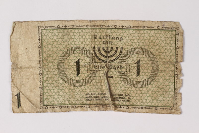 1987.90.40 back Łódź (Litzmannstadt) ghetto scrip, 1 mark note
