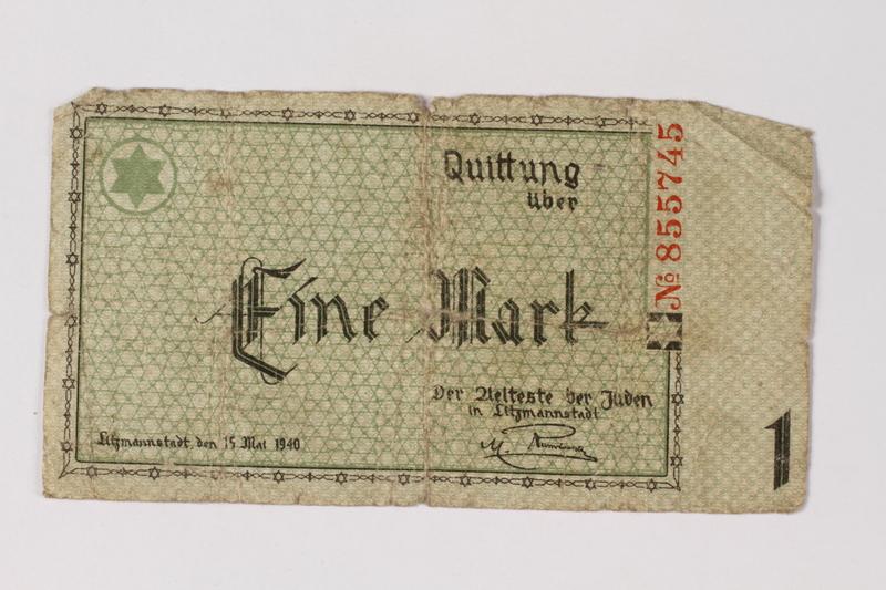 1987.90.41 front Łódź (Litzmannstadt) ghetto scrip, 1 mark note