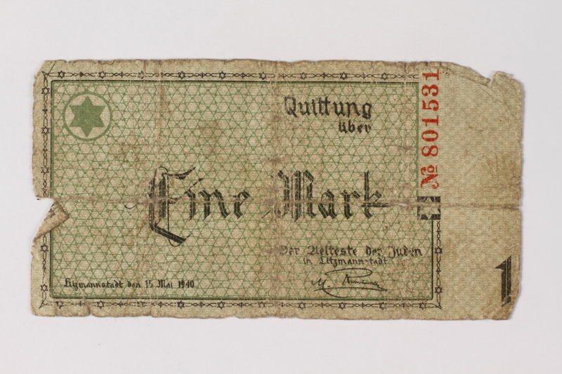 1987.90.44 front Łódź (Litzmannstadt) ghetto scrip, 1 mark note