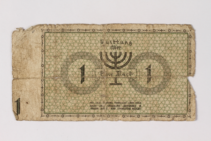 1987.90.44 back Łódź (Litzmannstadt) ghetto scrip, 1 mark note