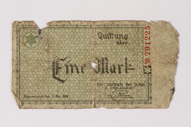 1987.90.45 front Łódź (Litzmannstadt) ghetto scrip, 1 mark note