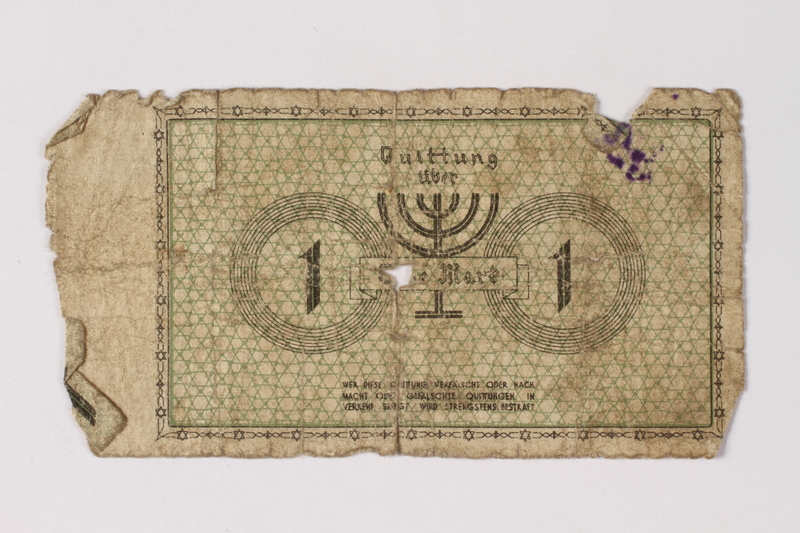 1987.90.45 back Łódź (Litzmannstadt) ghetto scrip, 1 mark note