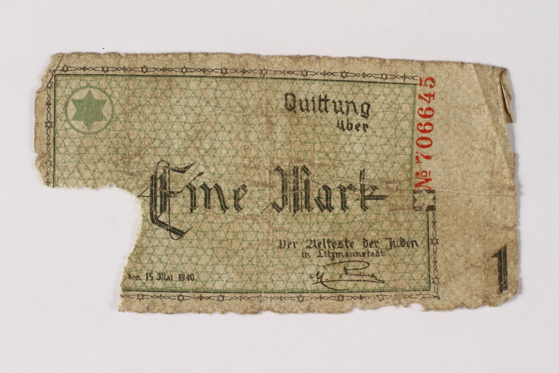 1987.90.46 front Łódź (Litzmannstadt) ghetto scrip, 1 mark note