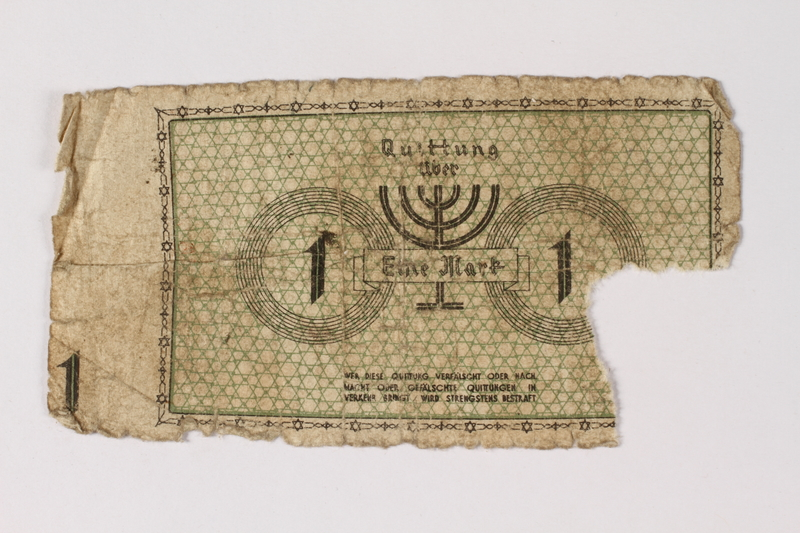 1987.90.46 back Łódź (Litzmannstadt) ghetto scrip, 1 mark note