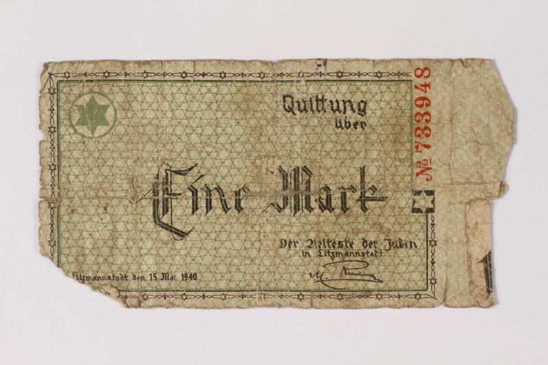 1987.90.49 front Łódź (Litzmannstadt) ghetto scrip, 1 mark note