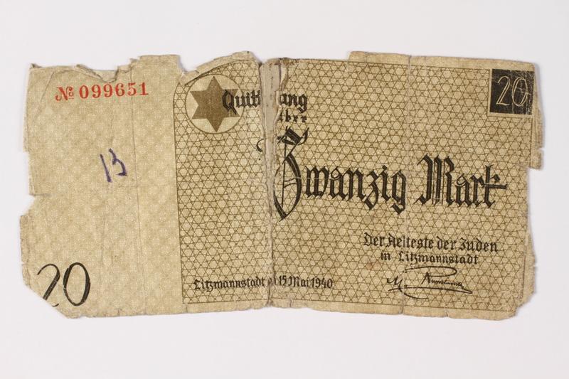 1987.90.5 front Łódź (Litzmannstadt) ghetto scrip, 20 mark note