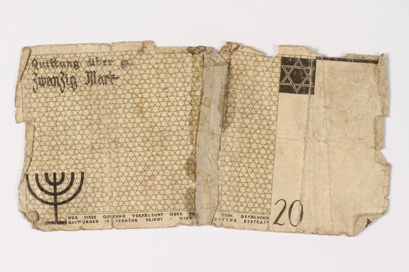 1987.90.5 back Łódź (Litzmannstadt) ghetto scrip, 20 mark note