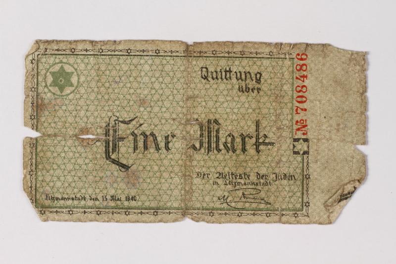 1987.90.50 front Łódź (Litzmannstadt) ghetto scrip, 1 mark note