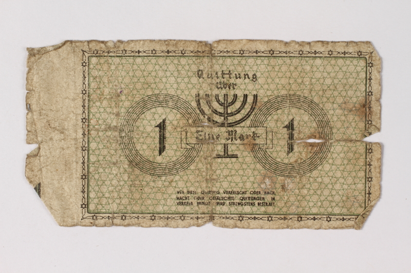 1987.90.50 back Łódź (Litzmannstadt) ghetto scrip, 1 mark note