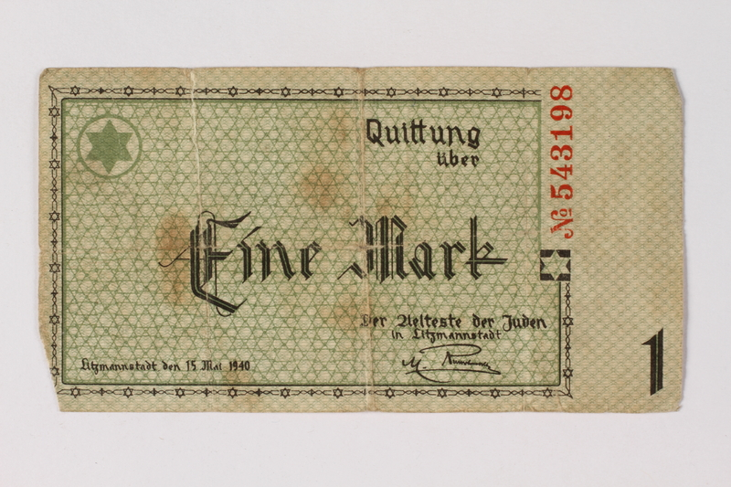 1987.90.51 front Łódź (Litzmannstadt) ghetto scrip, 1 mark note