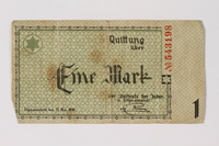 1987.90.51 front Łódź (Litzmannstadt) ghetto scrip, 1 mark note  Click to enlarge