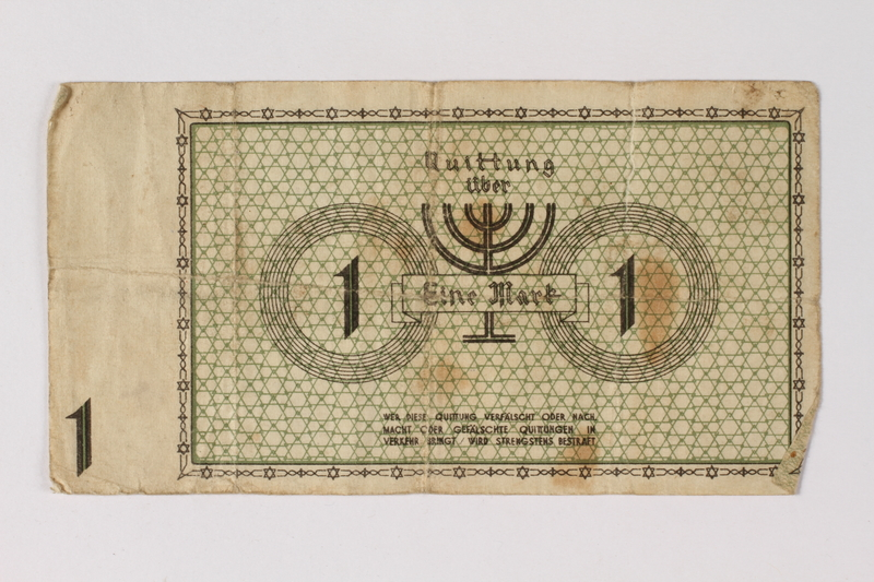 1987.90.51 back Łódź (Litzmannstadt) ghetto scrip, 1 mark note