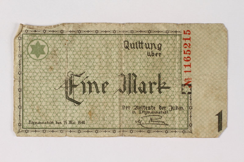 1987.90.53 front Łódź (Litzmannstadt) ghetto scrip, 1 mark note