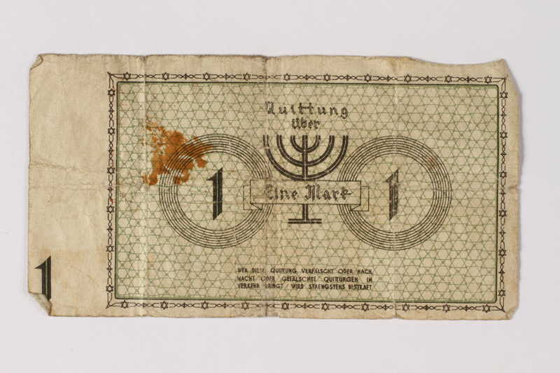 1987.90.53 back Łódź (Litzmannstadt) ghetto scrip, 1 mark note