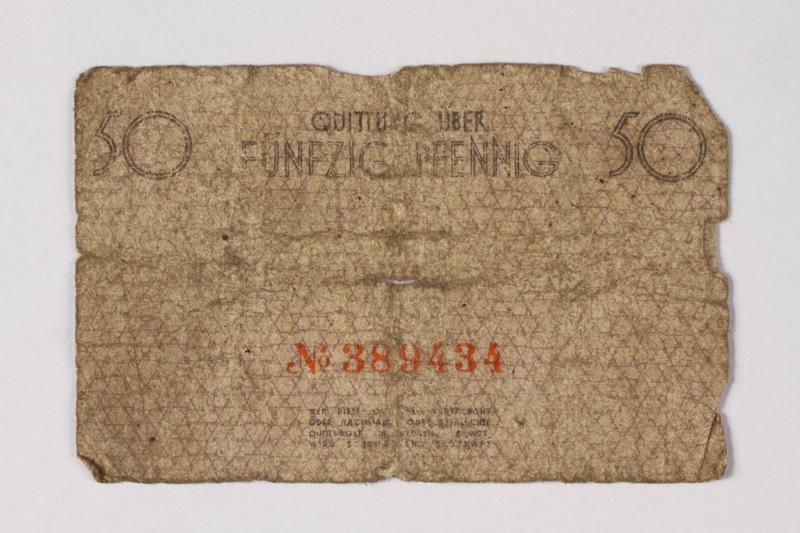 1987.90.55 back Łódź (Litzmannstadt) ghetto scrip, 50 pfennig note