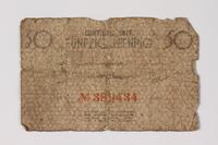 1987.90.55 back Łódź (Litzmannstadt) ghetto scrip, 50 pfennig note  Click to enlarge
