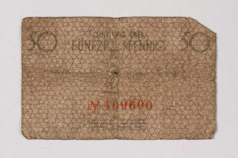 1987.90.56 back Łódź (Litzmannstadt) ghetto scrip, 50 pfennig note